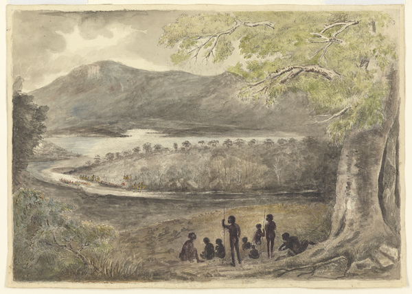 Lieutenant John Bowen and party arriving at Risdon attributed to Thomas Gregson ca 1860 TAHO