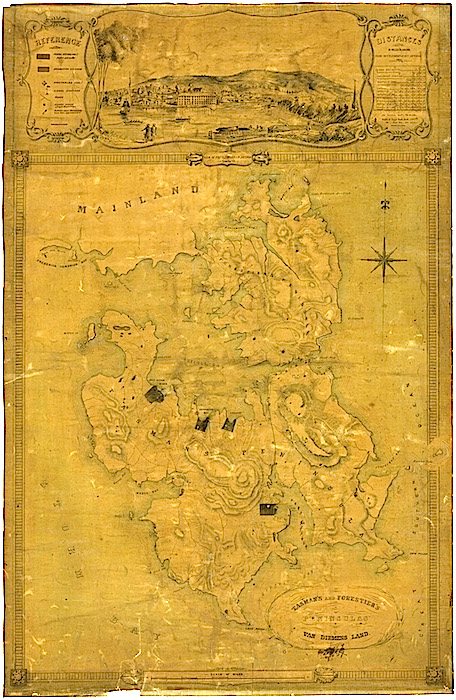Port Arthur Tasman's and Forestier's Peninsulas map London 1840-1855 AUTAS001144581469 sharpest