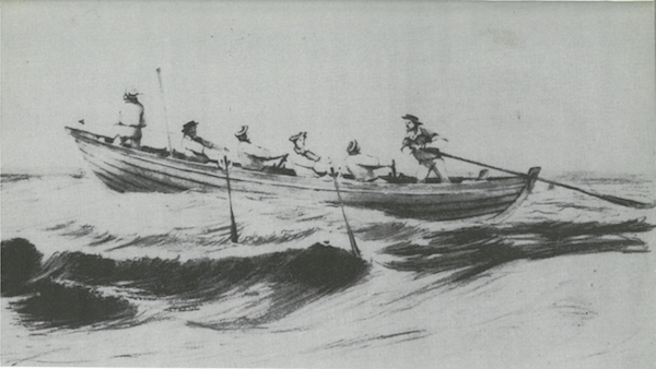 Whaleboat The Chase by William Duke 1848 in Brand